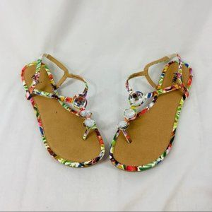 Fioni Jeweled T Strap Sandals Colorful